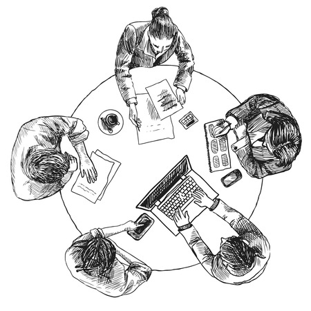 team working together: Business team meeting concept top view people on table sketch vector illustration