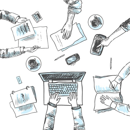 reunion de trabajo: Reuni�n de negocios vista superior concepto personas de manos ilustraci�n vectorial boceto Vectores