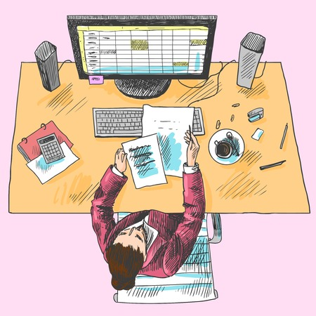 accountants: Accountant office employee work place tools with woman sitting on table colored top view sketch vector illustration