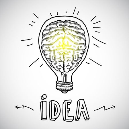Human brain in lightbulb idea concept sketch vector illustration