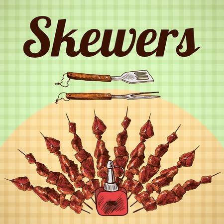 c�telette de porc: brochettes de viande et des outils de barbecue sur fond carr� croquis vecteur de poster illustration.