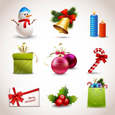 Christmas holiday decoration realistic icons set isolated vector illustration Vector