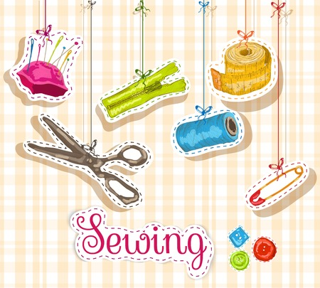 Sewing dressmaking and needlework accessories sketch composition vector illustration