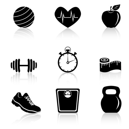 apple computer: Fitness lifestyle and healthcare black icons set isolated vector illustration