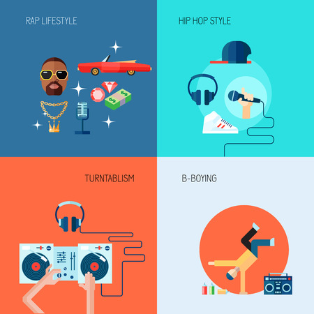 hip hop style: Rap music lifestyle turntablism b-boying icons flat set isolated vector illustration Illustration