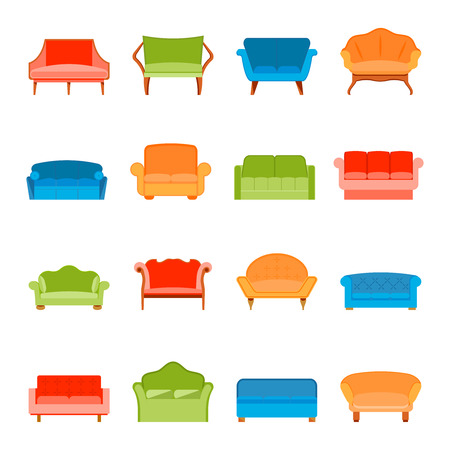 couches: Sofa couches modern furniture icons flat set isolated vector illustration