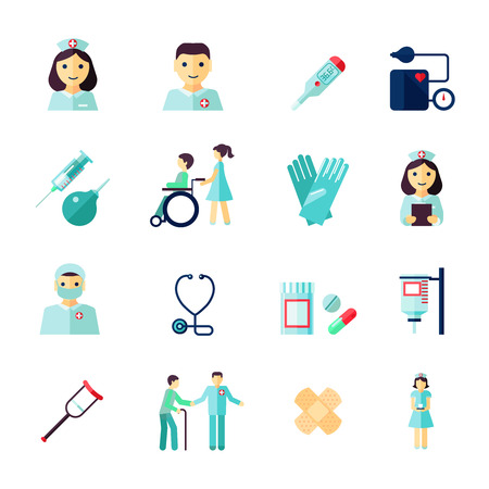medicine icons: Nurse health care medical icons flat set isolated vector illustration Illustration