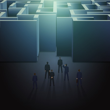 Group of people in front of huge maze entrance business concept vector illustration Vector