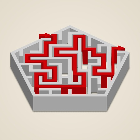 Maze 3d hexagon labyrinth puzzle game with red path solution vector illustration Vector
