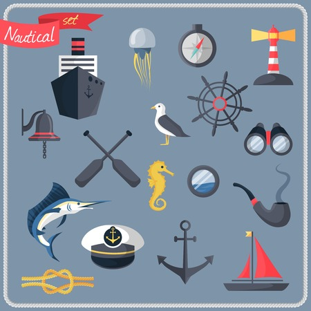 Nautical sea travel decorative icons set with compass steering wheel lighthouse vector illustration Vector