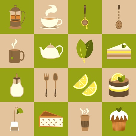 sugar spoon: Tea icons set with cup sugar cake isolated vector illustration