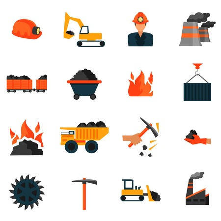 pick axe: Coal mining factory industry icons set isolated vector illustration