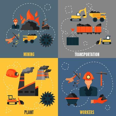 mining truck: Industria del carbón trabajadores de la planta de transporte minero iconos planos conjunto aislado ilustración vectorial