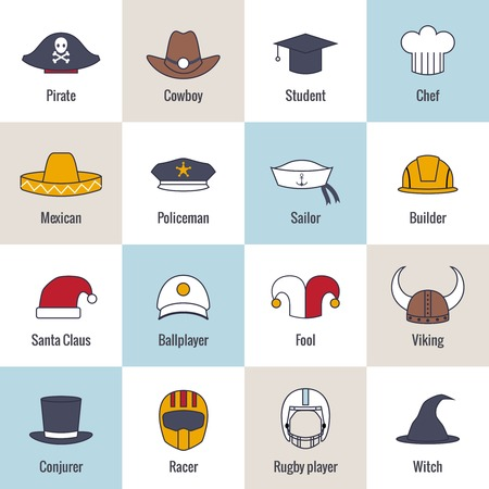 Modern and old hat and caps flat line icons set isolated vector illustration Vector