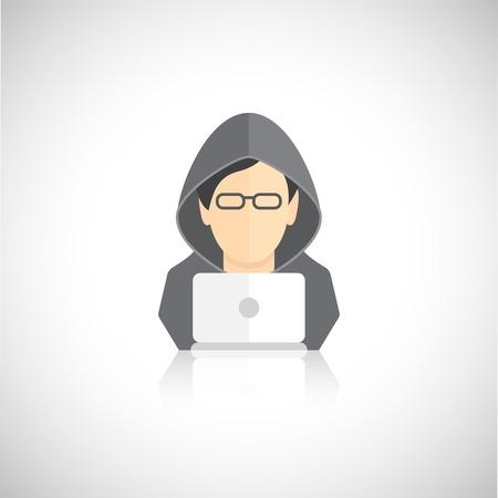 hoody: Значок Hacker человек в капюшоном с ноутбуком квартира, изолированных на белом фоне векторные иллюстрации Иллюстрация