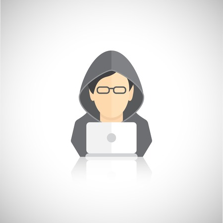 identity thieves: Hacker icon man in hoody with laptop flat isolated on white background vector illustration