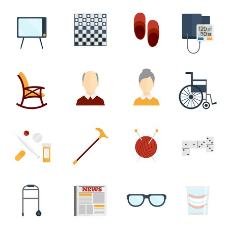 pension: Pensioners life old man care icons flat set isolated vector illustration.