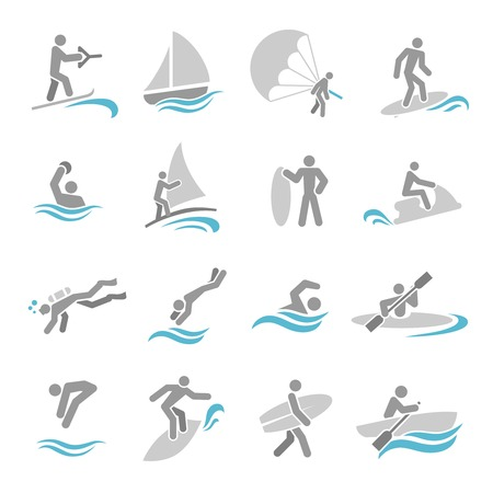 Water sports icons set with rowing rafting swimming people isolated vector illustration Vector