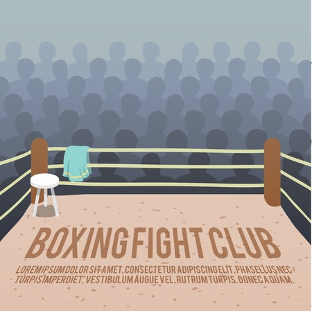 ring: Box fight club background with ring and audience vector illustration