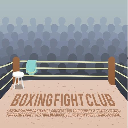combate: Caja pelea de fondo del club con el anillo y la audiencia ilustraci�n vectorial