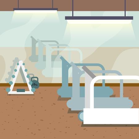 Sport sportschool interieur met loopbanden en raam achtergrond vector illustratie