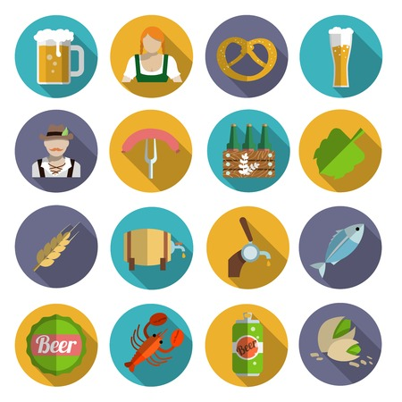 tin can phone: Beer alcohol drink Oktoberfest festival icons flat set isolated vector illustration Illustration