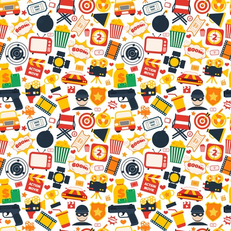 action movie: Action movie film cinema professional production seamless pattern vector illustration Illustration