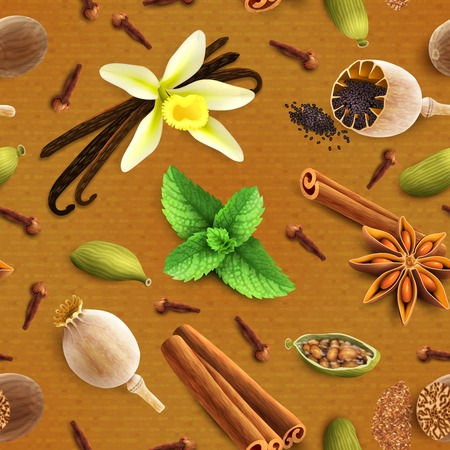 pods: Confectionery spices food product decorative elements seamless pattern vector illustration Illustration