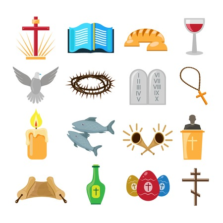 christian: Christian church traditional symbols icons set isolated vector illustration