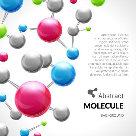 atomic structure: 3d chemical science atomic structure molecule model background vector illustration Illustration