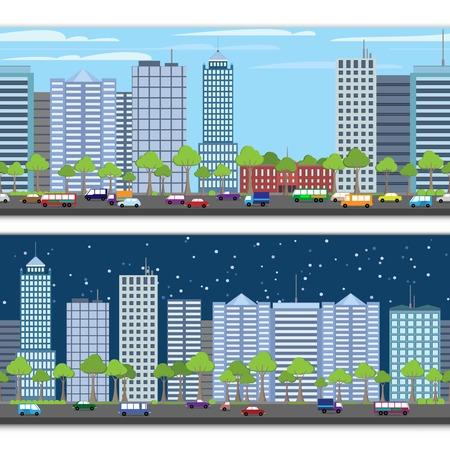 urban building: Modern urban building on street cityscape skyline tileable borders set isolated vector illustration