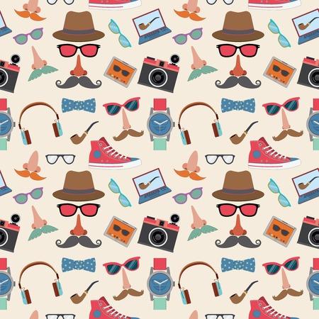 pijp roken: Hipster elementen naadloos patroon met gumshoes bowtie snorren rokende pijp vector illustratie