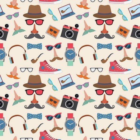 Hipster elements seamless pattern with gumshoes bowtie mustaches smoking pipe vector illustration Vector