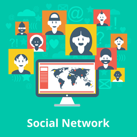 participant: Computer social media network participants avatar icons and symbols composition design infographic chart map poster vector illustration