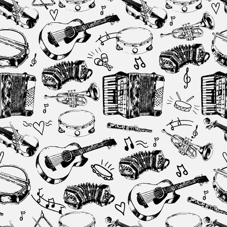 Decorative musical store wrapping paper seamless pattern with classical strings percussion jazz instruments doodle sketches vector illustration Vector