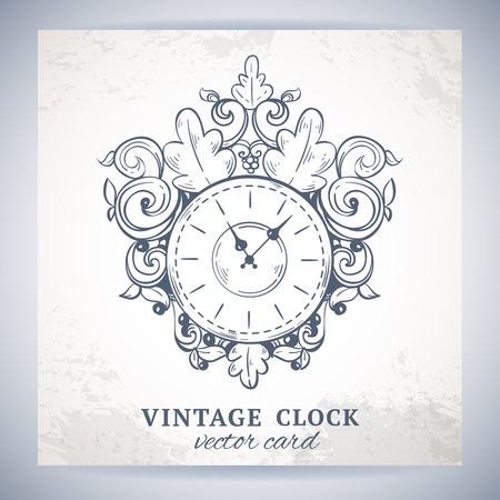 Old vintage retro sketch wall clock with decoration paper postcard vector illustration Vector