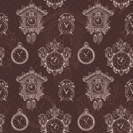Old sketch vintage clock and watches on dark background seamless pattern vector illustration Vector