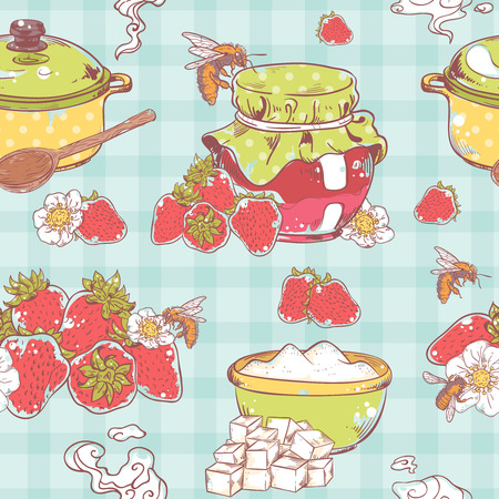 confiture: Sweet and healthy homemade strawberry jam seamless pattern on retro colored textile background vector illustration