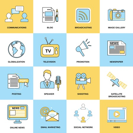 tv news: Media icons line flat of communications blog broadcasting isolated vector illustration