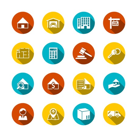 Real estate flat icons set of key plan auction isolated vector illustration Vector