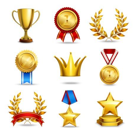 Award iconen set van geïsoleerde trofee medaille winnaar prijs kampioen kop vectorillustratie Stock Illustratie