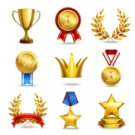 star award: Award icons set of trophy medal winner prize champion cup isolated vector illustration
