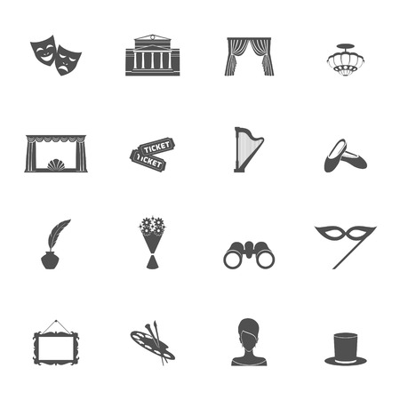 performance art: Theatre acting entertainment performance icons set black isolated vector illustration