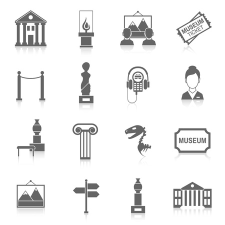 sculpture: Museum building artistic exhibition icons black set isolated vector illustration Illustration
