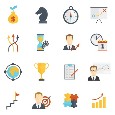 Business strategy planning flat icons set isolated vector illustration