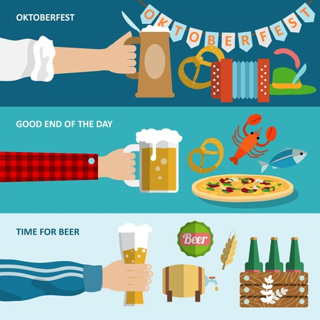 Dark and light beer Oktoberfest horizontal banners set isolated vector illustration.