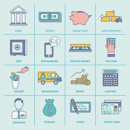 reserves: Bank service money control profit and growth flat line icons set isolated vector illustration