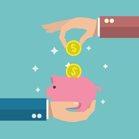 banco dinero: Mano que pone una moneda de oro en divertido de color rosa alcanc�a ilustraci�n del cartel caja de dinero vector.