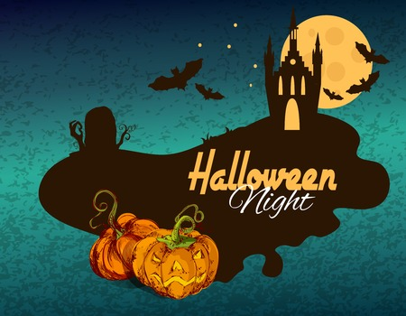 castle silhouette: Halloween colored sketch background with night castle silhouette vector illustration Illustration