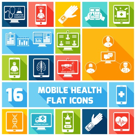 Mobile health medicines delivery x-ray monitoring icons flat set isolated vector illustration Vectores